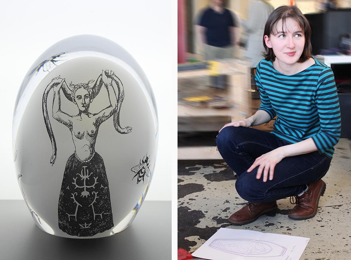 Artist-designer Ella Varvio at the Glass studio Mafka&Alakoski