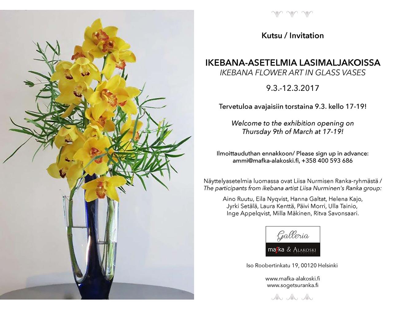 Ikebana-asetelmia lasimaljakoissa esillä Galleria Mafka&Alakoskessa